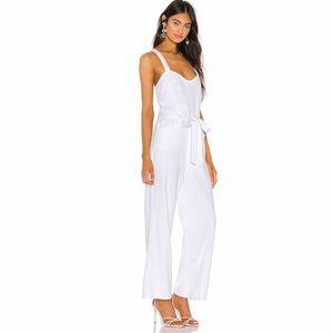 PAIGE Tie Waist Cotton Blend White Jumpsuit Size M